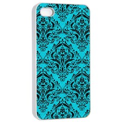 Damask1 Black Marble & Turquoise Colored Pencil Apple Iphone 4/4s Seamless Case (white)