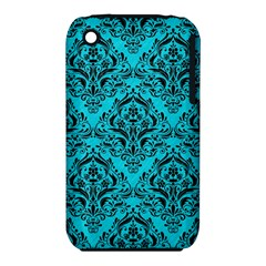 Damask1 Black Marble & Turquoise Colored Pencil Iphone 3s/3gs