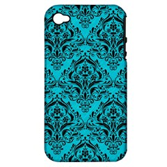 Damask1 Black Marble & Turquoise Colored Pencil Apple Iphone 4/4s Hardshell Case (pc+silicone)
