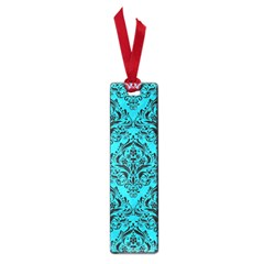 Damask1 Black Marble & Turquoise Colored Pencil Small Book Marks