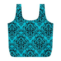 Damask1 Black Marble & Turquoise Colored Pencil Full Print Recycle Bags (l)