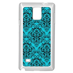 Damask1 Black Marble & Turquoise Colored Pencil Samsung Galaxy Note 4 Case (white)