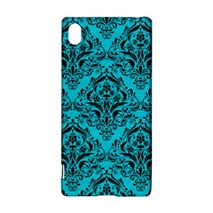 Damask1 Black Marble & Turquoise Colored Pencil Sony Xperia Z3+