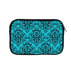 Damask1 Black Marble & Turquoise Colored Pencil Apple Macbook Pro 13  Zipper Case