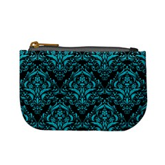 Damask1 Black Marble & Turquoise Colored Pencil (r) Mini Coin Purses