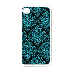Damask1 Black Marble & Turquoise Colored Pencil (r) Apple Iphone 4 Case (white)