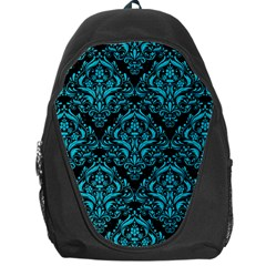 Damask1 Black Marble & Turquoise Colored Pencil (r) Backpack Bag