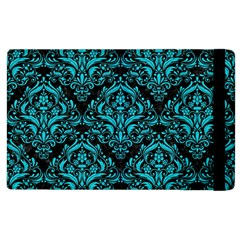 Damask1 Black Marble & Turquoise Colored Pencil (r) Apple Ipad 2 Flip Case