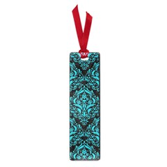 Damask1 Black Marble & Turquoise Colored Pencil (r) Small Book Marks