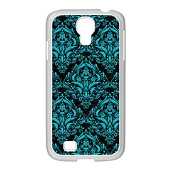 Damask1 Black Marble & Turquoise Colored Pencil (r) Samsung Galaxy S4 I9500/ I9505 Case (white)