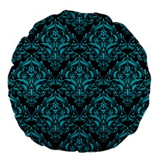 Damask1 Black Marble & Turquoise Colored Pencil (r) Large 18  Premium Flano Round Cushions