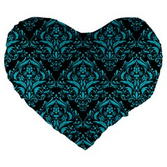 Damask1 Black Marble & Turquoise Colored Pencil (r) Large 19  Premium Flano Heart Shape Cushions