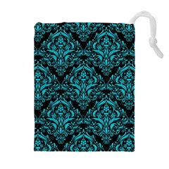 Damask1 Black Marble & Turquoise Colored Pencil (r) Drawstring Pouches (extra Large)