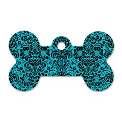 Damask2 Black Marble & Turquoise Colored Pencil Dog Tag Bone (one Side)