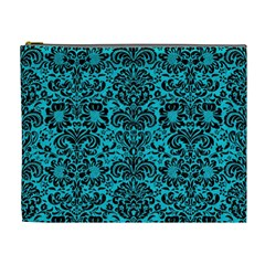 Damask2 Black Marble & Turquoise Colored Pencil Cosmetic Bag (xl)