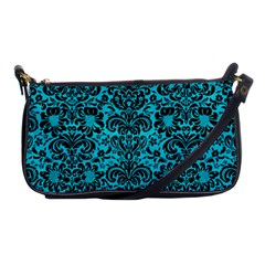 Damask2 Black Marble & Turquoise Colored Pencil Shoulder Clutch Bags