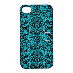 Damask2 Black Marble & Turquoise Colored Pencil Apple Iphone 4/4s Hardshell Case With Stand