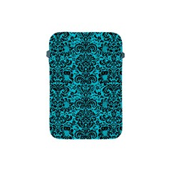 Damask2 Black Marble & Turquoise Colored Pencil Apple Ipad Mini Protective Soft Cases