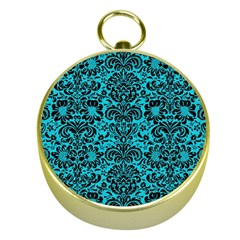 Damask2 Black Marble & Turquoise Colored Pencil Gold Compasses