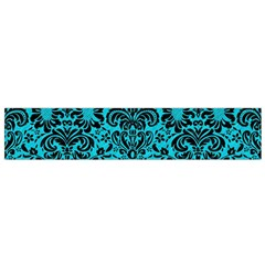Damask2 Black Marble & Turquoise Colored Pencil Small Velour Scarf