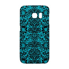 Damask2 Black Marble & Turquoise Colored Pencil Galaxy S6 Edge