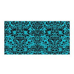 Damask2 Black Marble & Turquoise Colored Pencil Satin Wrap