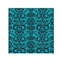 Damask2 Black Marble & Turquoise Colored Pencil Small Satin Scarf (square)
