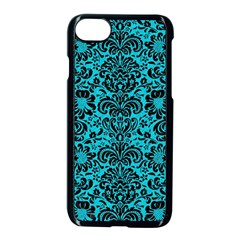 Damask2 Black Marble & Turquoise Colored Pencil Apple Iphone 8 Seamless Case (black)