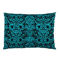 Damask2 Black Marble & Turquoise Colored Pencil (r) Pillow Case
