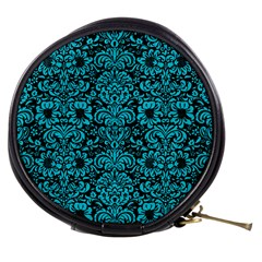 Damask2 Black Marble & Turquoise Colored Pencil (r) Mini Makeup Bags