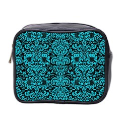 Damask2 Black Marble & Turquoise Colored Pencil (r) Mini Toiletries Bag 2 Side
