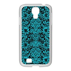 Damask2 Black Marble & Turquoise Colored Pencil (r) Samsung Galaxy S4 I9500/ I9505 Case (white)