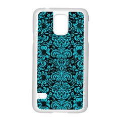 Damask2 Black Marble & Turquoise Colored Pencil (r) Samsung Galaxy S5 Case (white)