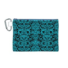 Damask2 Black Marble & Turquoise Colored Pencil (r) Canvas Cosmetic Bag (m)