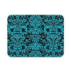 Damask2 Black Marble & Turquoise Colored Pencil (r) Double Sided Flano Blanket (mini)