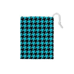 Houndstooth1 Black Marble & Turquoise Colored Pencil Drawstring Pouches (small)