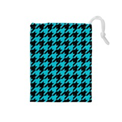 Houndstooth1 Black Marble & Turquoise Colored Pencil Drawstring Pouches (medium)