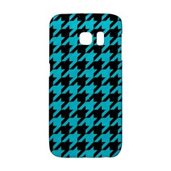 Houndstooth1 Black Marble & Turquoise Colored Pencil Galaxy S6 Edge