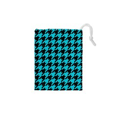 Houndstooth1 Black Marble & Turquoise Colored Pencil Drawstring Pouches (xs)