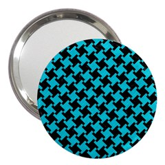 Houndstooth2 Black Marble & Turquoise Colored Pencil 3  Handbag Mirrors