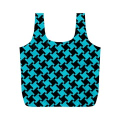 Houndstooth2 Black Marble & Turquoise Colored Pencil Full Print Recycle Bags (m)