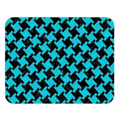 Houndstooth2 Black Marble & Turquoise Colored Pencil Double Sided Flano Blanket (large)