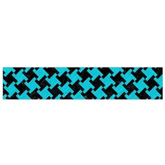 Houndstooth2 Black Marble & Turquoise Colored Pencil Small Velour Scarf