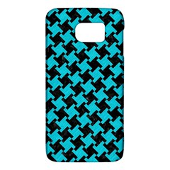 Houndstooth2 Black Marble & Turquoise Colored Pencil Galaxy S6