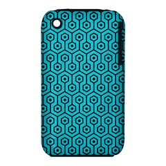 Hexagon1 Black Marble & Turquoise Colored Pencil Iphone 3s/3gs