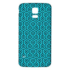 Hexagon1 Black Marble & Turquoise Colored Pencil Samsung Galaxy S5 Back Case (white)