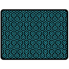 Hexagon1 Black Marble & Turquoise Colored Pencil (r) Fleece Blanket (large)