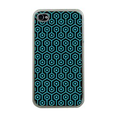 Hexagon1 Black Marble & Turquoise Colored Pencil (r) Apple Iphone 4 Case (clear)