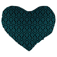 Hexagon1 Black Marble & Turquoise Colored Pencil (r) Large 19  Premium Flano Heart Shape Cushions