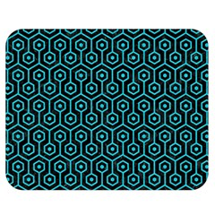 Hexagon1 Black Marble & Turquoise Colored Pencil (r) Double Sided Flano Blanket (medium)